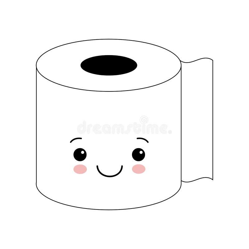 滑稽的愉快的逗人喜爱的微笑的卫生纸 传染媒介平的漫画人物例证象 背景查出的白色 库存例证