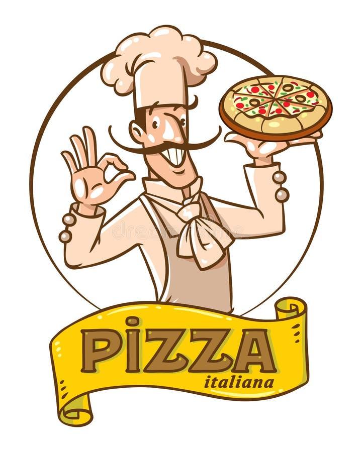 滑稽的意大利厨师用薄饼 装饰设计象征图象例证向量 皇族释放例证