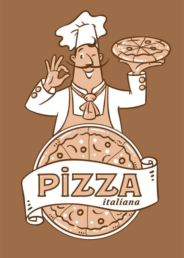 滑稽的意大利厨师用薄饼 装饰设计象征图象例证向量 库存例证