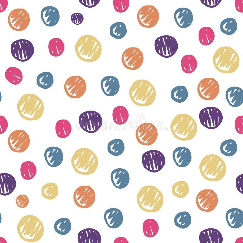 滑稽的手拉的圈子塑造无缝的样式 色的圆点背景 库存例证