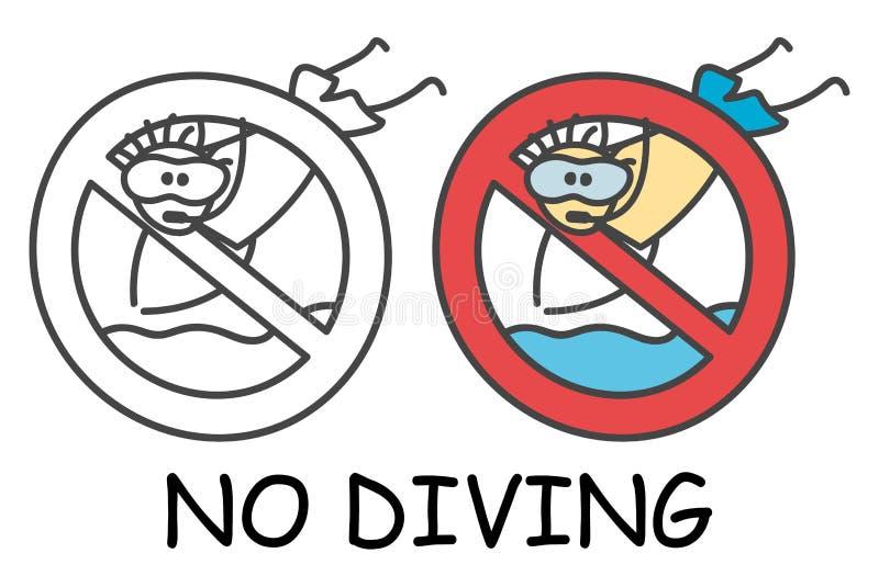 滑稽的有一个潜水的面具的传染媒介跳跃的棍子人对于儿童样式 没有潜水没有水池跃迁标志红色禁止 o 库存例证