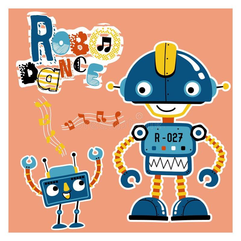 滑稽的机器人动画片跳舞 向量例证