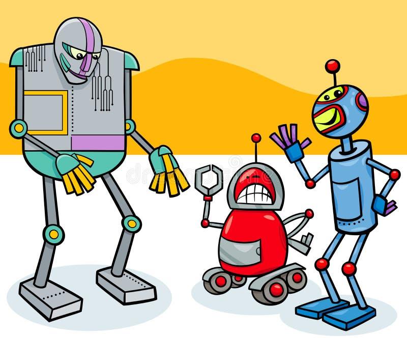 滑稽的机器人卡通人物小组 库存例证