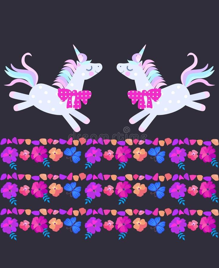 滑稽的欢乐独角兽和美好的镶边边界,组成由明亮的花、蝴蝶和瓣在黑背景 库存例证
