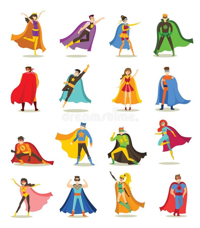 滑稽的漫画服装的超级英雄 皇族释放例证