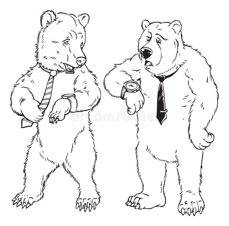 滑稽的熊商人 向量例证