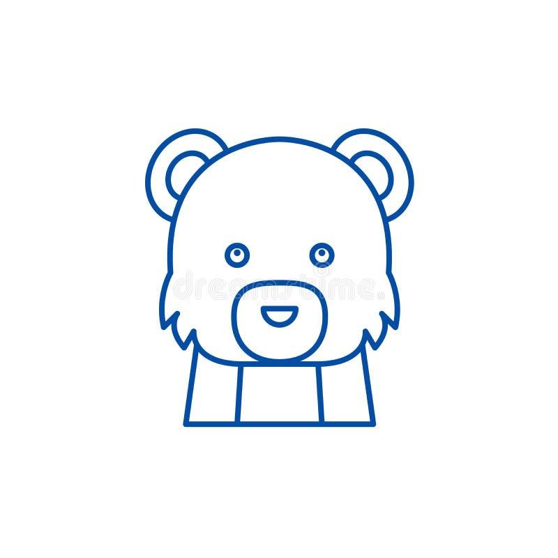 滑稽的熊线象概念 滑稽的熊平的传染媒介标志,标志,概述例证 皇族释放例证