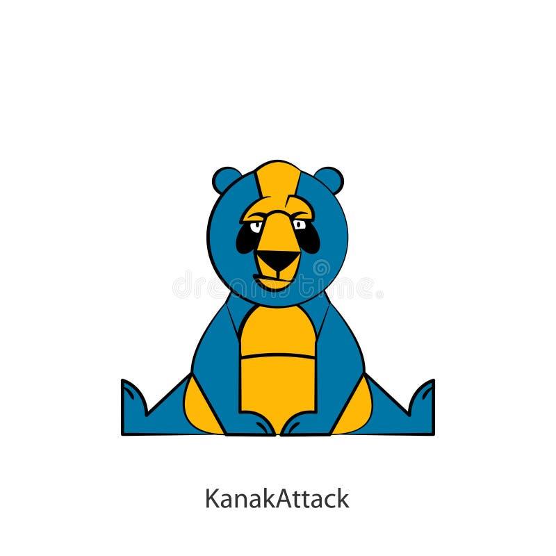 滑稽的狂放的熊猫颜色 库存例证