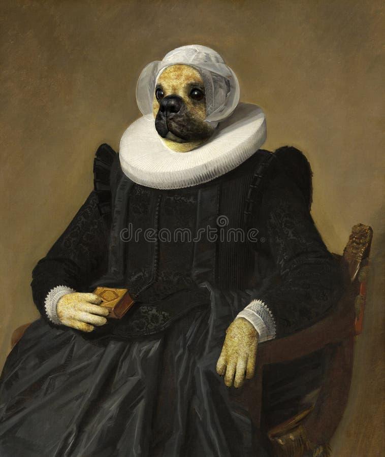 滑稽的狗,油画欺骗,超现实 免版税图库摄影