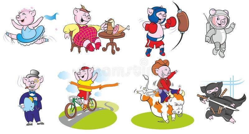 滑稽的猪用不同的角色和姿势 图库摄影