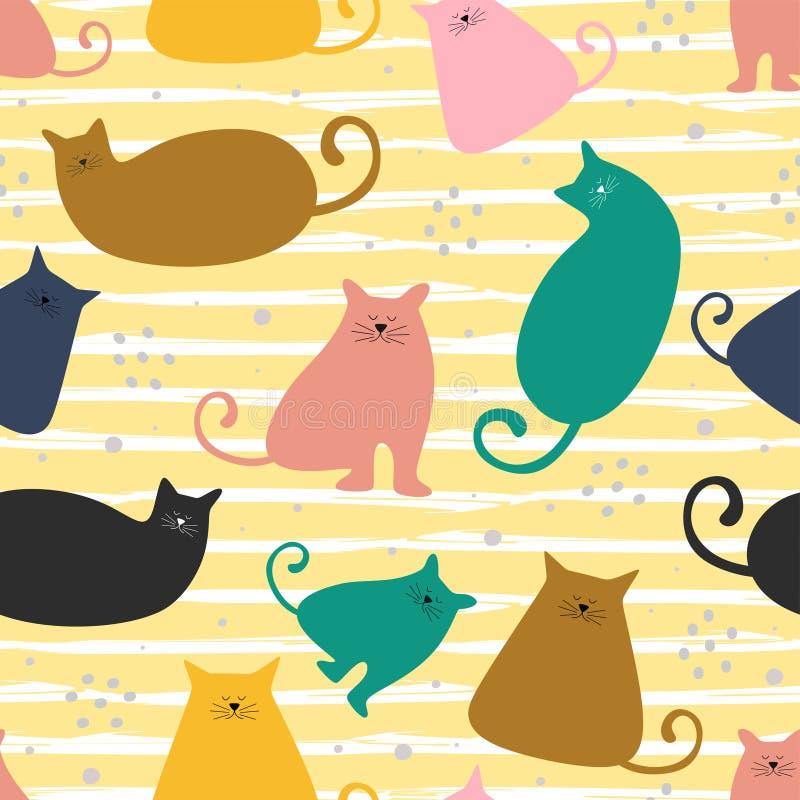 滑稽的猫无缝的样式五颜六色的装饰 设计孩子生日贺卡的,党墙纸,假日幼稚图表盖子 向量例证