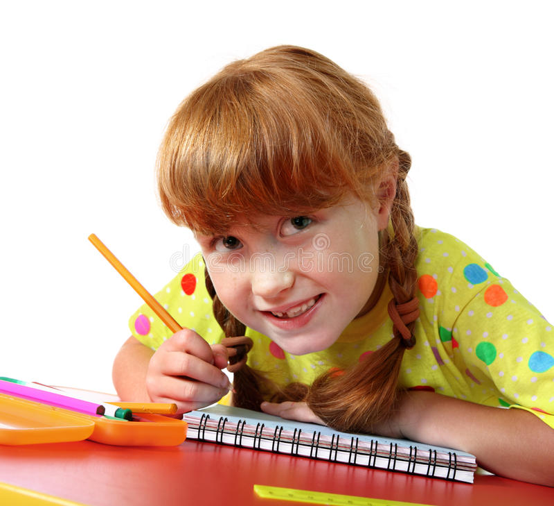 滑稽的矮小的女小学生 免版税库存图片