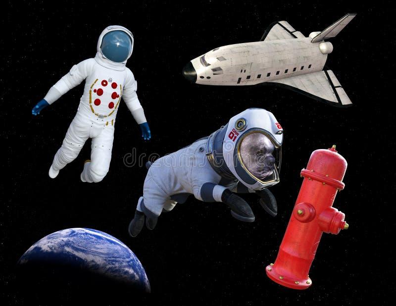 滑稽的空间行走狗宇航员,梭 免版税库存照片
