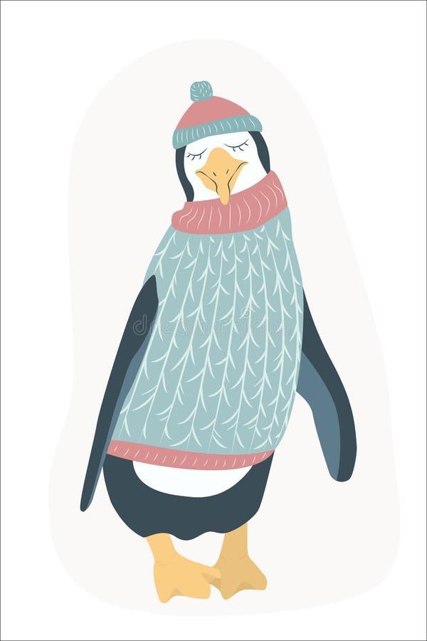 滑稽的笨拙的企鹅漫画人物平的设计 库存例证