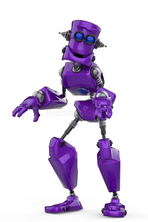 滑稽的紫色机器人动画片在白色背景中的做一个妖怪姿势 库存例证