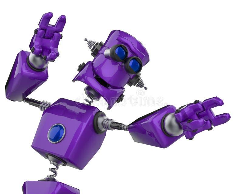 滑稽的紫色机器人动画片愉快的舞蹈在白色背景中 向量例证