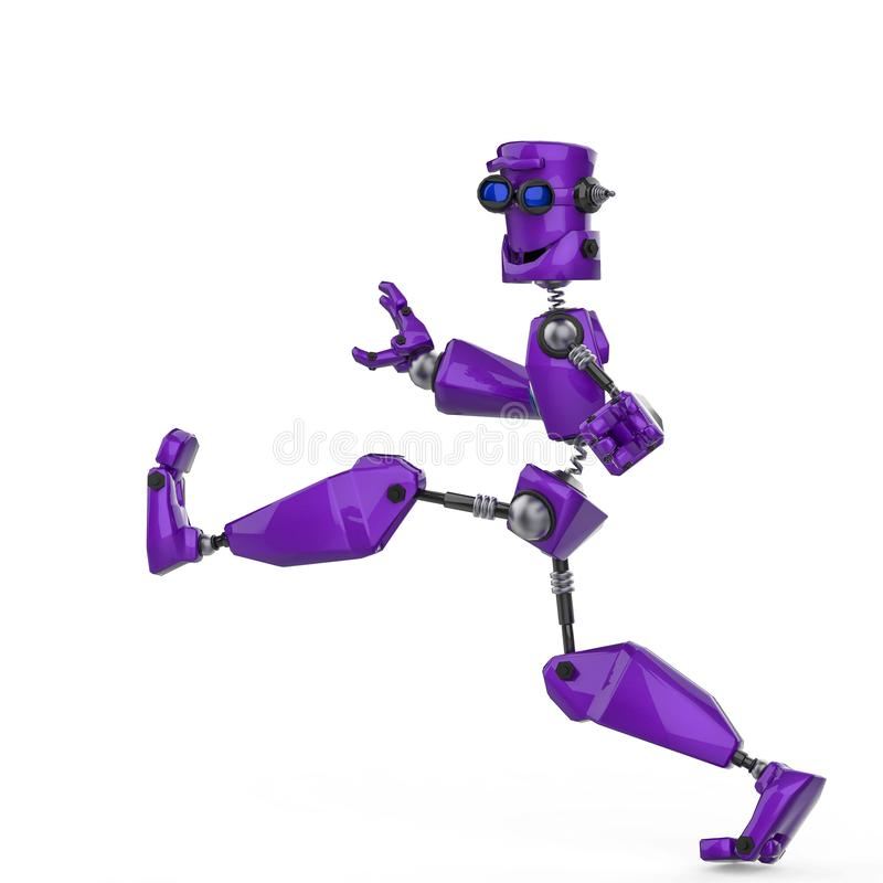 滑稽的紫色机器人动画片疯狂的步行在白色背景中 库存例证