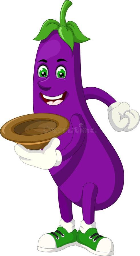 滑稽的紫色茄子动画片 库存例证