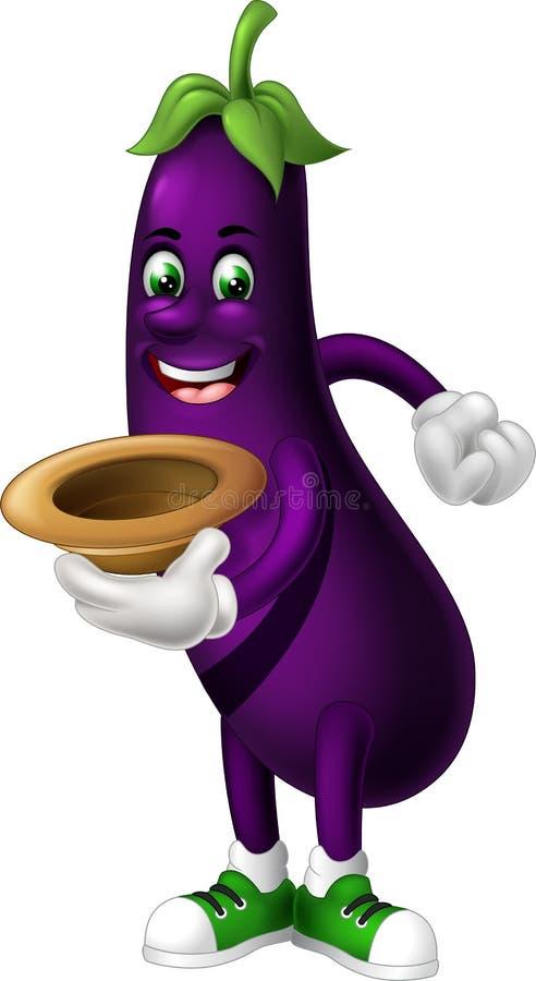 滑稽的紫色茄子动画片 皇族释放例证