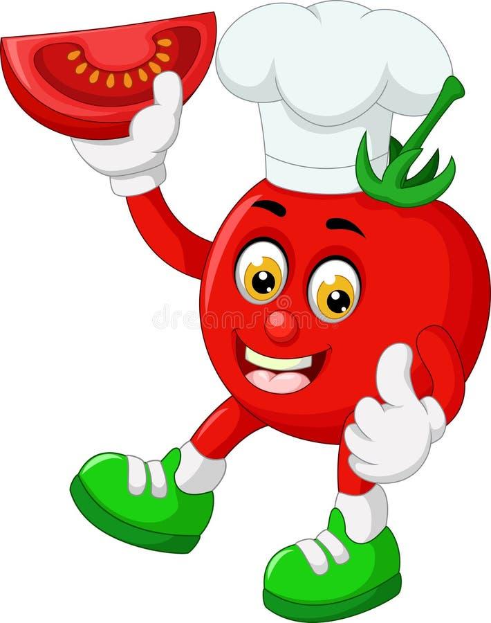 滑稽的红色蕃茄穿戴白色帽子动画片 向量例证