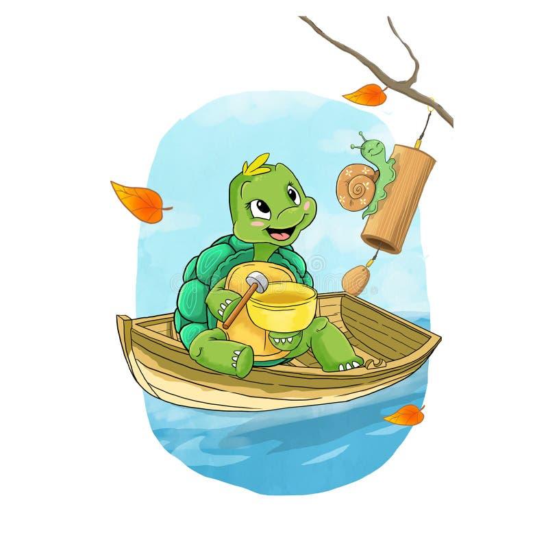 滑稽的绿色蜗牛和乌龟在小船 向量例证