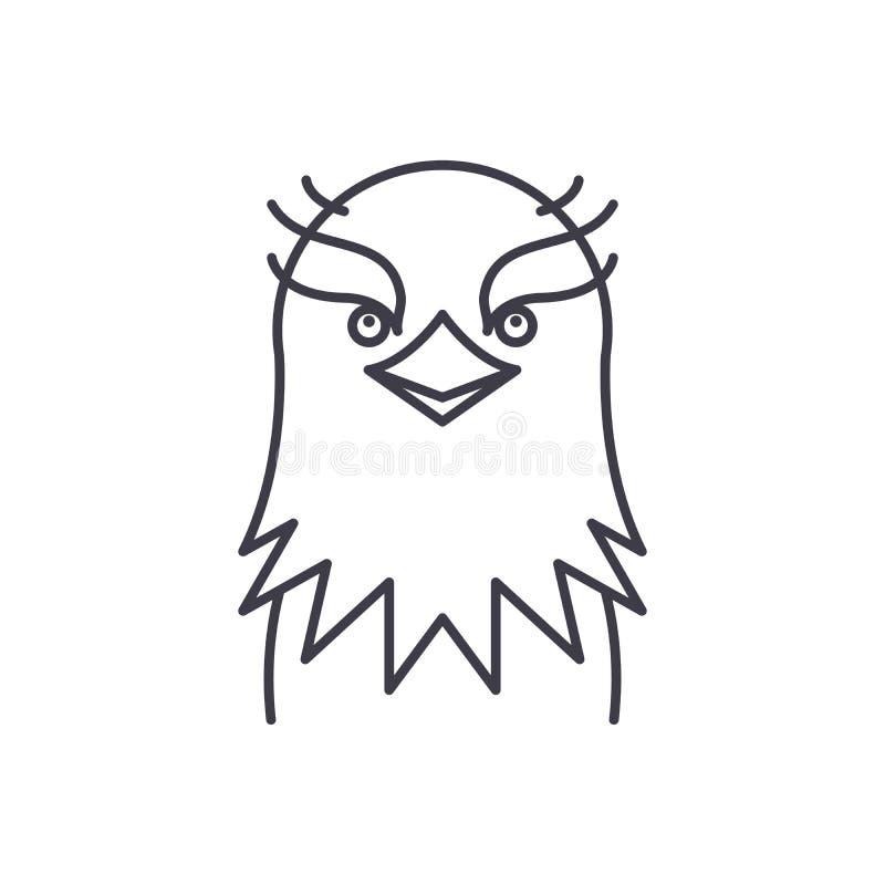 滑稽的老鹰线象概念 滑稽的老鹰传染媒介线性例证,标志,标志 皇族释放例证