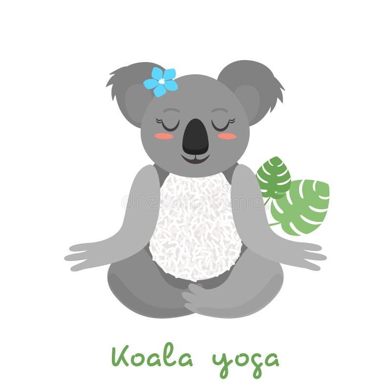 滑稽的考拉在莲花坐做瑜伽,思考并且坐 被隔绝的平的例证 皇族释放例证