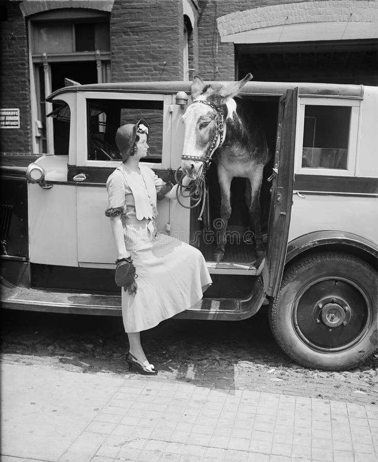 滑稽的葡萄酒减速火箭的出租汽车,驴,妇女 库存图片