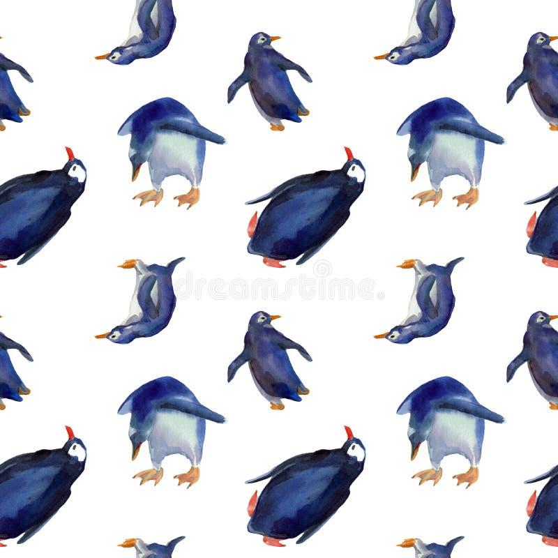滑稽的蓝色企鹅水彩无缝的瓦片  皇族释放例证