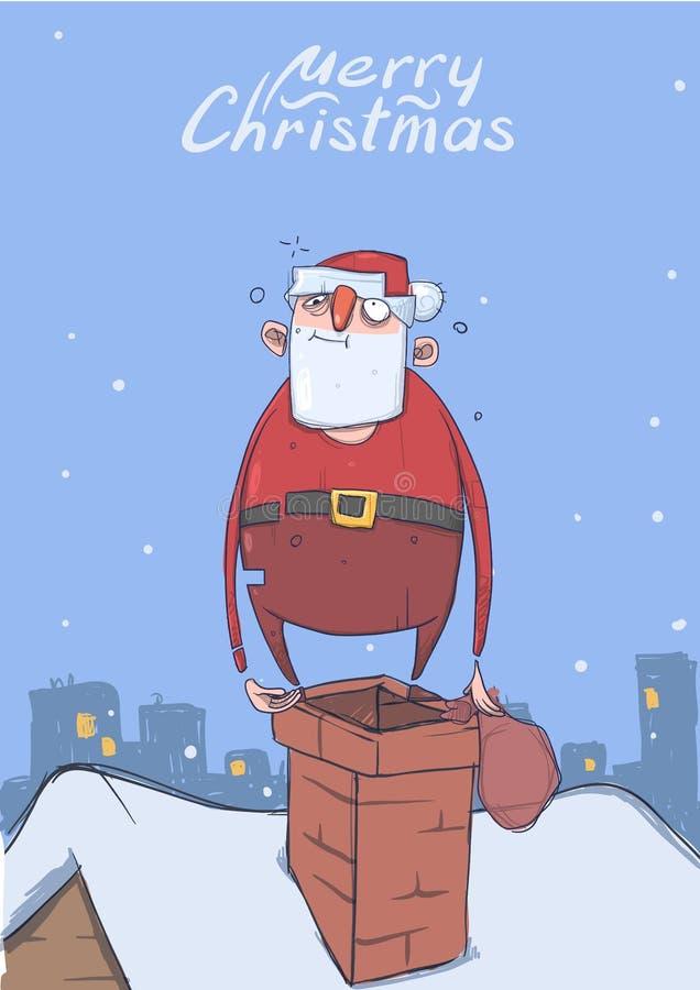 滑稽的被喝的圣诞老人圣诞卡有一个袋子的在一个烟囱在多雪的城市 愉快的圣诞老人得到浪费 垂直 库存例证