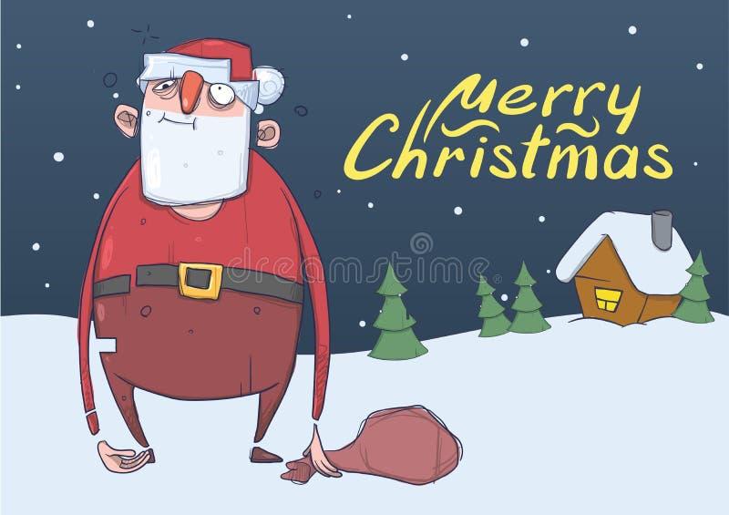 滑稽的被喝的圣诞老人圣诞卡有一个袋子的在房子和树前面的多雪的夜 圣诞老人得到了浪费 库存例证