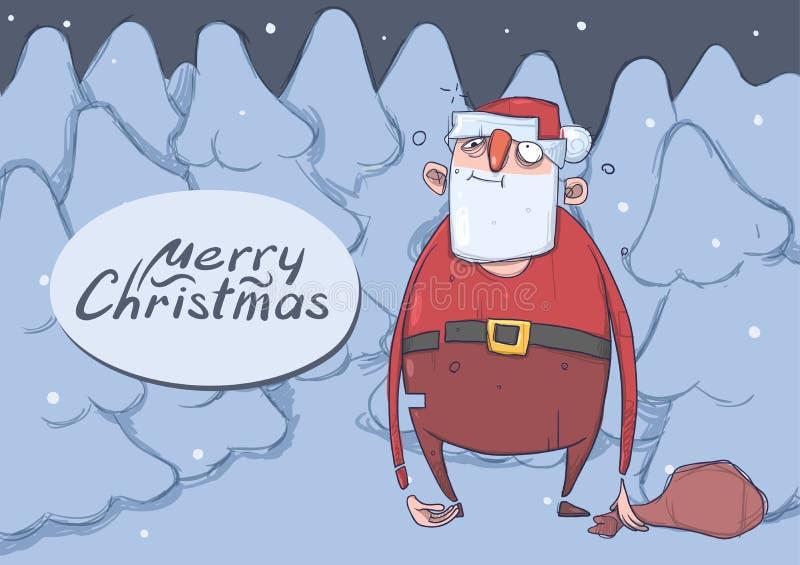 滑稽的被喝的圣诞老人圣诞卡有一个袋子的多雪的云杉的森林浪费圣诞老人的夜得到了失去 向量例证