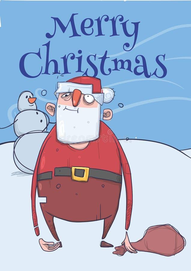 滑稽的被喝的圣诞老人圣诞卡有站立在冷淡的刮风的天气的雪人旁边的袋子的 被浪费的愉快 向量例证