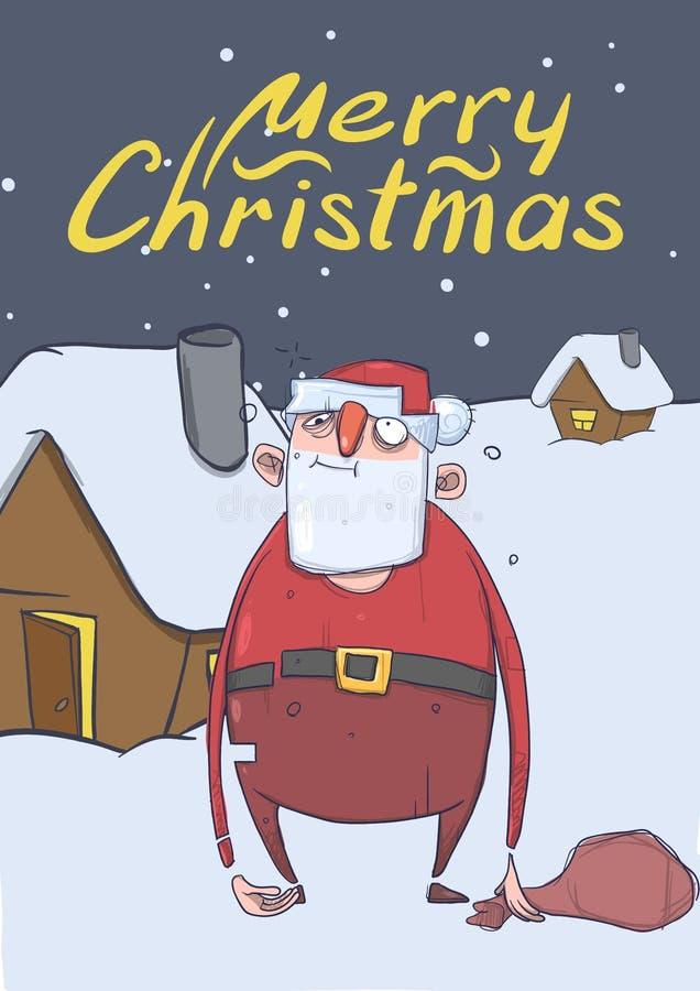 滑稽的被喝的圣诞老人圣诞卡有站立在房子旁边的袋子的在多雪的夜 圣诞老人得到了浪费 向量例证