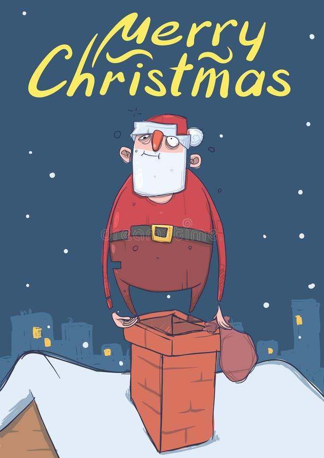 滑稽的被喝的圣诞老人圣诞卡有站立在烟囱的袋子的 皇族释放例证