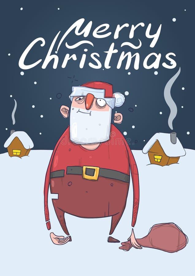 滑稽的被喝的圣诞老人圣诞卡有袋子的 向量例证