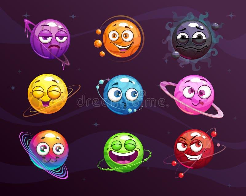 滑稽的被设置的动画片五颜六色的emoji行星 传染媒介可笑的幻想空格符 向量例证