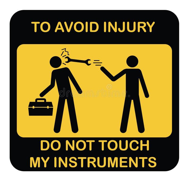 滑稽的警告传染媒介象 与两台概要工作者和仪器箱子,避免伤害的文本的黑黄色标志标签不t 皇族释放例证