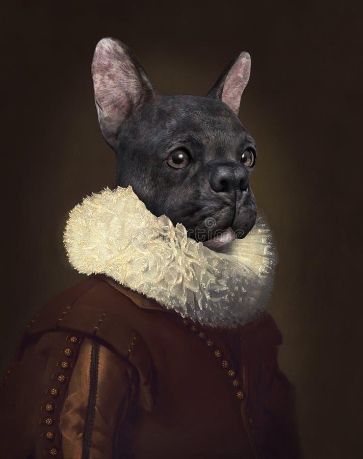 滑稽的超现实的狗,油画 免版税库存图片