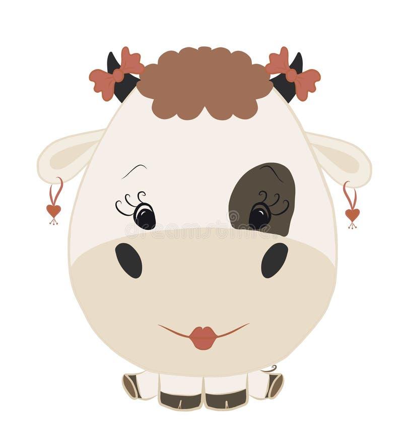 滑稽的逗人喜爱的婴孩动画片小母牛 皇族释放例证