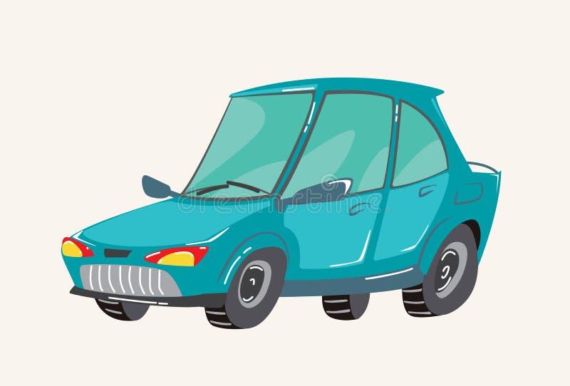 滑稽的逗人喜爱的手拉的动画片车 明亮的动画片消防车,消防车,传染媒介例证 向量例证