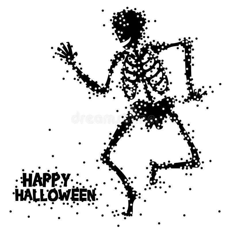 滑稽的逗人喜爱的跳舞骨骼一个愉快的万圣夜季节 向量例证