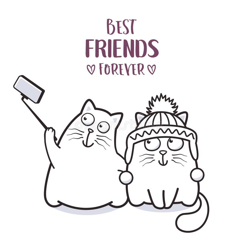滑稽的采取贺卡设计的猫最好的朋友selfie 皇族释放例证