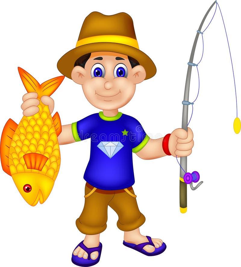 滑稽的钓鱼者动画片带来鱼和捕鱼设备 向量例证