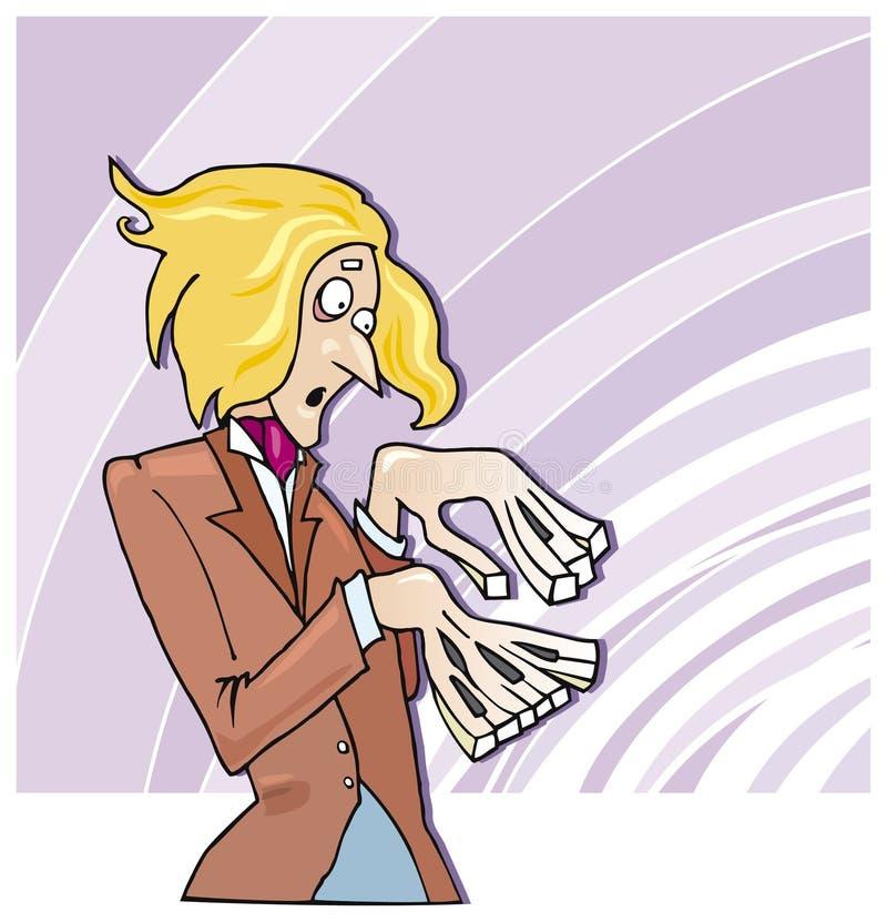滑稽的钢琴演奏家 向量例证