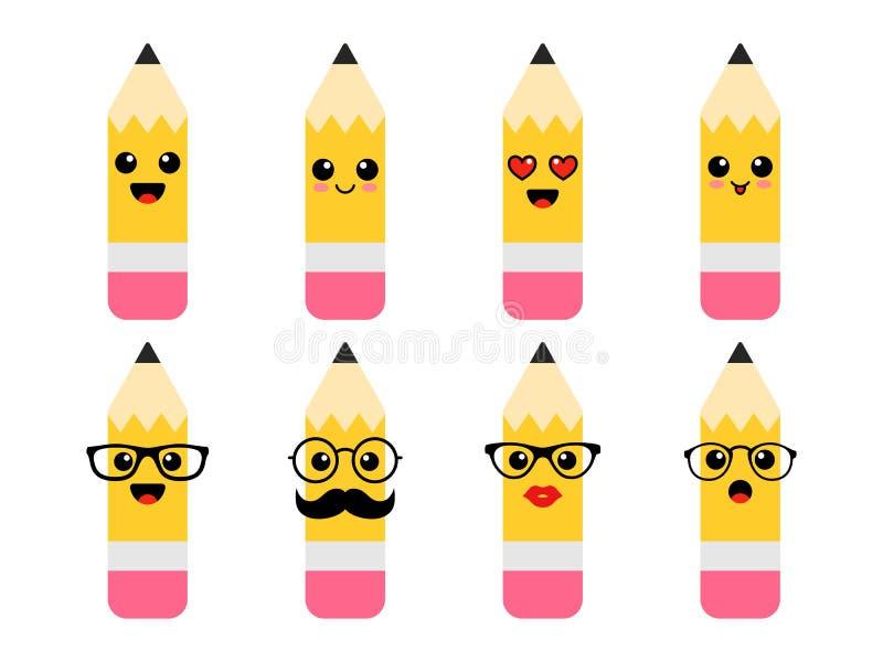 滑稽的铅笔激动-学生和老师 回到学校 日第一所学校 也corel凹道例证向量 皇族释放例证