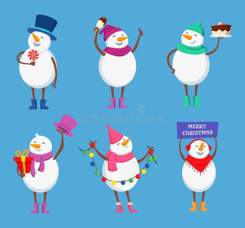滑稽的雪人用不同的行动姿势 圣诞节的逗人喜爱的冬天字符节日快乐 皇族释放例证