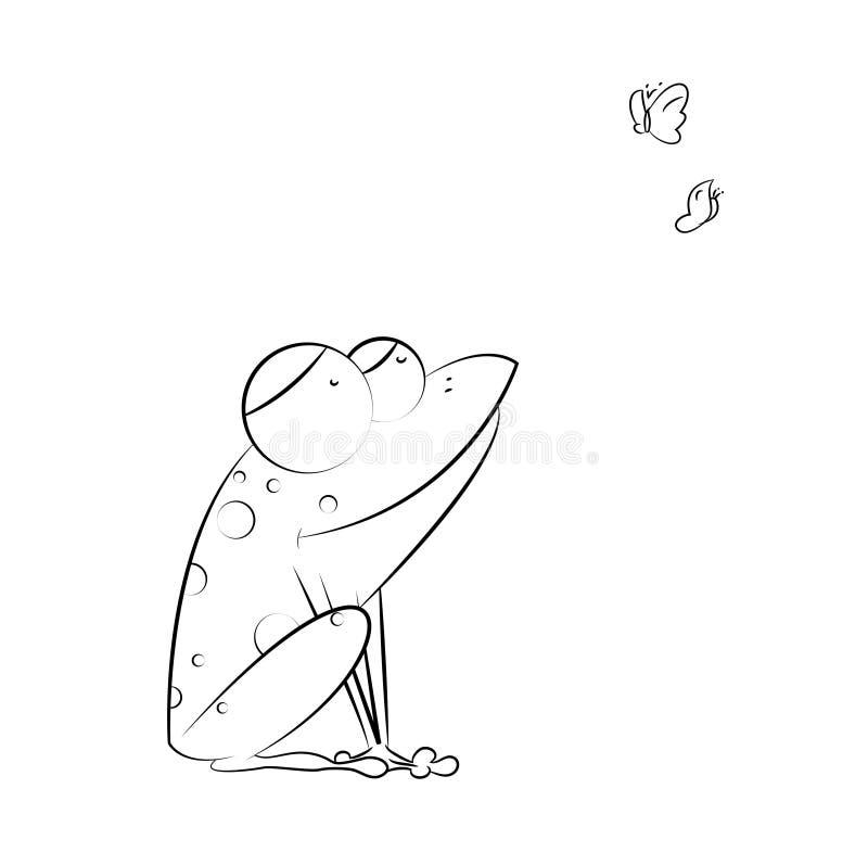 滑稽的青蛙坐并且捉住在白色的蝴蝶 皇族释放例证