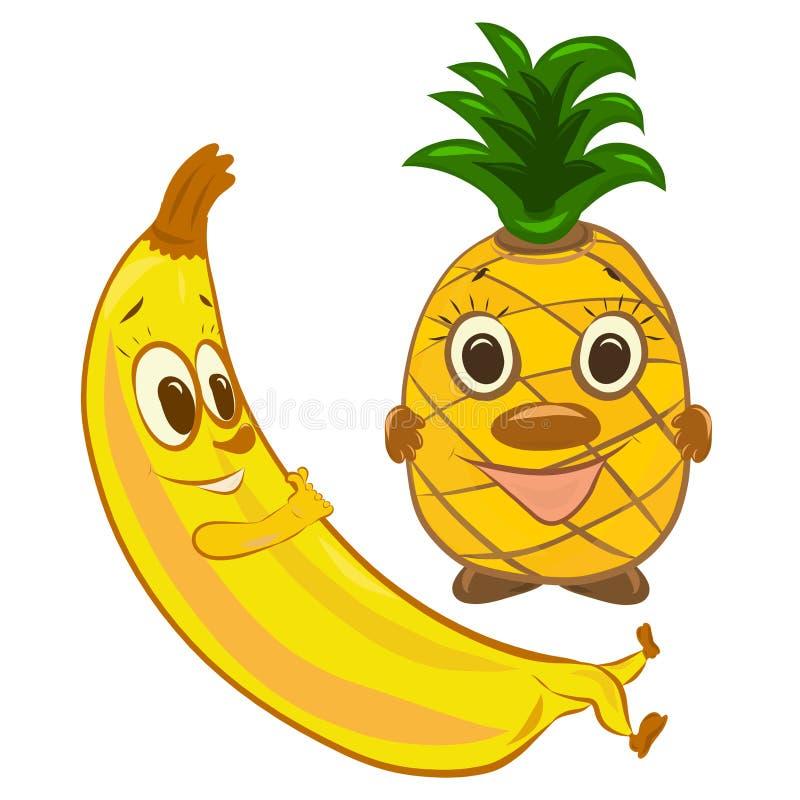 滑稽的香蕉和菠萝,与面孔的果子 皇族释放例证