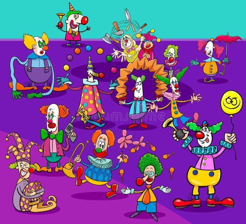 滑稽的马戏团小丑漫画人物小组 向量例证